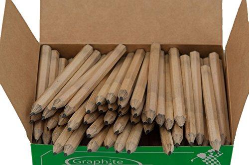Half Pencils Sharpened Hex (No Eraser) (Golf Pencils, Pew Pencil, Score Pencil, Short Pencil) (Natural Wood) (Bulk Box of (Hex Golf Pencils)