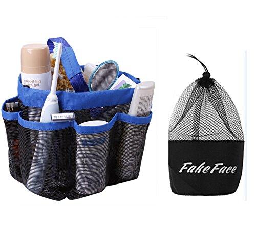 Quick Drying Mesh Caddy Organizer 8 Pockets Hanging Shower Toiletry Bag Makeup Cosmetic Storage Bag Bath Shampoo Shower Organizer Oxford Travel Gym Dorm Bathroom Pouch Case Washing Bag with Handles Blue