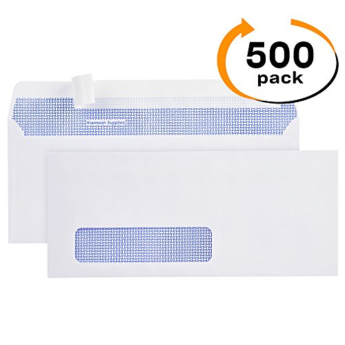 500 #10 Peel & Seal SINGLE Window Security Envelopes-Designed for Business Statements, Computer printed Checks, QuickBooks Invoices - 4 1/8 X 9 1/2 - Made in the USA