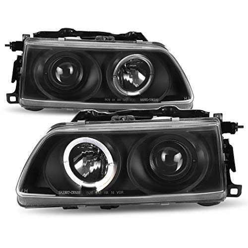 For Honda Civic CRX Black Bezel Halo Ring Design Projector Headlights Front Replacement Left + -
