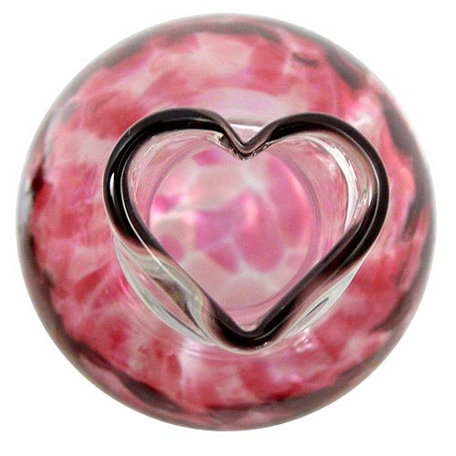 Modern Artisans Heart Bud Vase, American Hand-Blown Glass, 5'', Pink Version by Modern Artisans (Image #3)