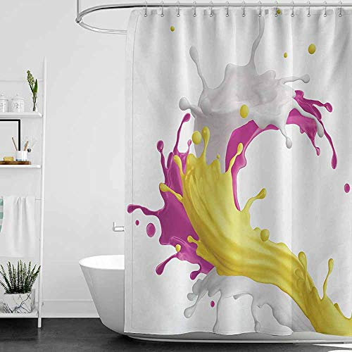 Shower Curtains Vines Colorful,Mixed Fruit Drink Splash Photo Strawberry Banana Milk Sweet Fountain,Pink Yellow and White,W36 x L72,Shower Curtain for Girls Bathroom