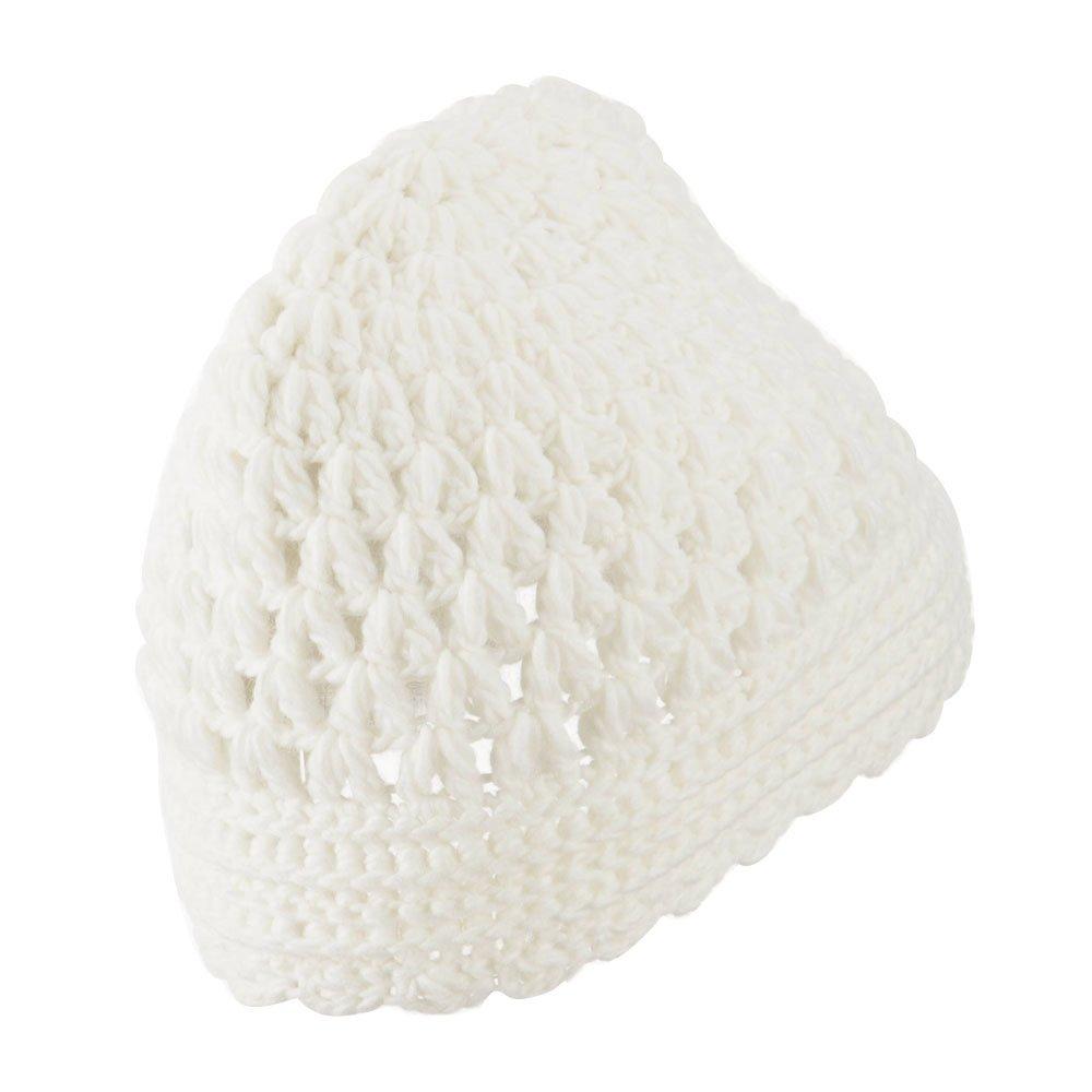 Ivory Girls Scalloped Edge Knit Cap