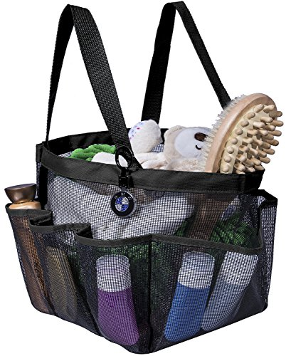 (Attmu Portable Caddy with 8 Mesh Storage Pockets, Quick Dry Shower Tote Bag Oxford Hanging Toiletry and Bath Organizer for Shampoo, Conditioner, Soap and Other Bathroom Accessories, Black)