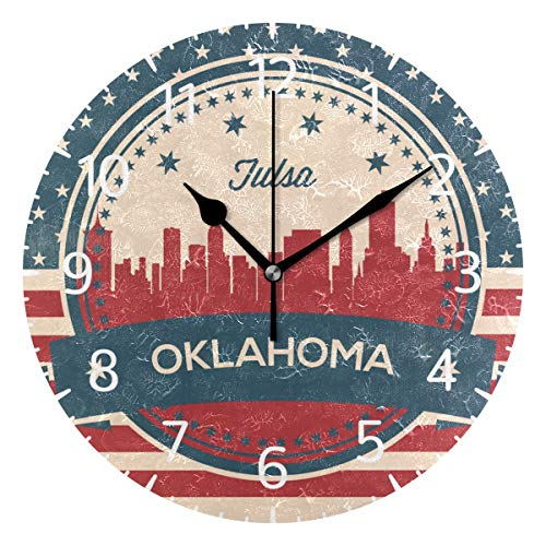 - Franzibla Oklahoma State Tulsa Skyline 9.5 Inch Battery Operated Decorative Wall Clock, Quartz Clock for Bedrooms, Living Room, Bathroom