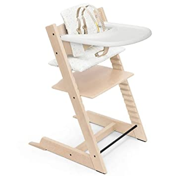 Tripp Trapp by Stokke Adjustable Wooden Natural Baby High Chair (Includes Baby Seat with Harness, Sweetheart Cushion and White Tray)