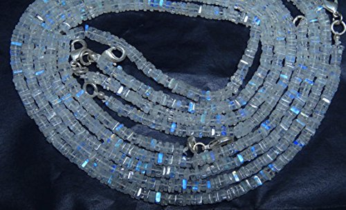 (1 Strand Natural 16 inch AAA Blue Flash top Quality Rainbow Moonstone Smooth Square Chips Beads Necklace 3 to 3.5)