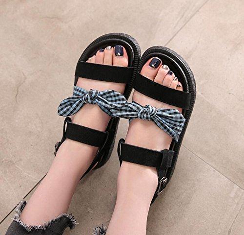 Gruesa Estudiante Zapatos Zapatos Arco Suela de DANDANJIE Zapatillas 43 Literario Verde caseros Verde de Mujer enrejados tamaño de Verano Sandalias 34 Gran de Negro de vwdOqBd