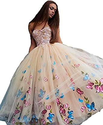 Uryouthstyle Strapless A-line Prom Evening Dresses with Butterfly Appliques US6 Champagne