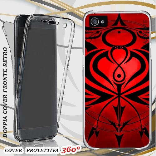 CUSTODIA COVER CASE RED TRIBAL PER IPHONE 5 FRONT BACK