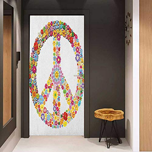 (Onefzc Photo Wall Decal Groovy Floral Peace Sign Summer Spring Blooms Love Happiness Themed Illustration Print for Home Decor W30 x H80 Multicolor)