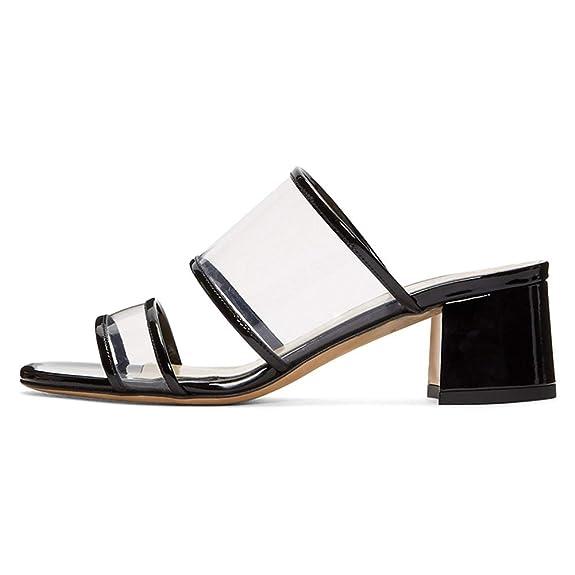 Ayercony Sandal Slides, Woman's Transparent Heels Open Toe Block Heel Mules Pvc Mule Shoes For Dress by Ayercony
