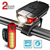 USB Bike light Set Rechargeable, ITSHINY LED Bike light Front and back Bicycle Light Set Waterproof - Super Bright Headlight Red Taillight Combinations Easy To Install for Kids Men Women Road Cycling Safety Flashlight