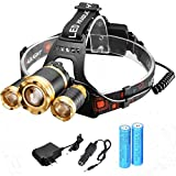 Svitlife New Style 3 xT6 1500LM Stretchable Focusing 90-Degree Adjustable Waterproof LED Headlamp for Outdoor Activities Black & Luxury Golden