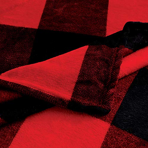 Red Black Buffalo Plaid Throw Blanket Sofa Couch Bed Plaid Checker Blanket Lightweight Cozy Plush Throw All Season Blanket (60\