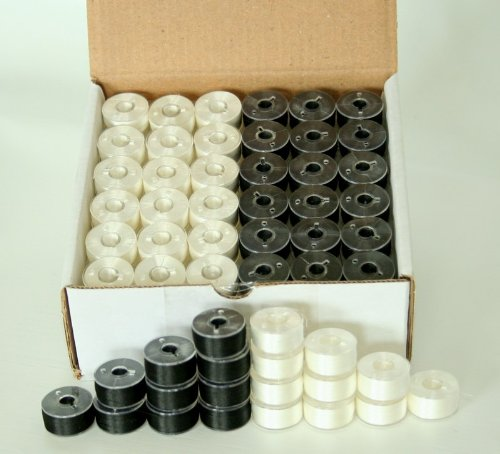 New ThreadNanny 144 Black & White Pre-Wound Bobbins for BROTHER Embroidery Machines Compatible with PE-700, PE700II, PE-750D, PE-770, PE-780D, Innovis 1000, Innovis 1200, Innovis 1250D And New Babylock Ellure, Emore and NEW Esante (Black Embroidery Hoop compare prices)