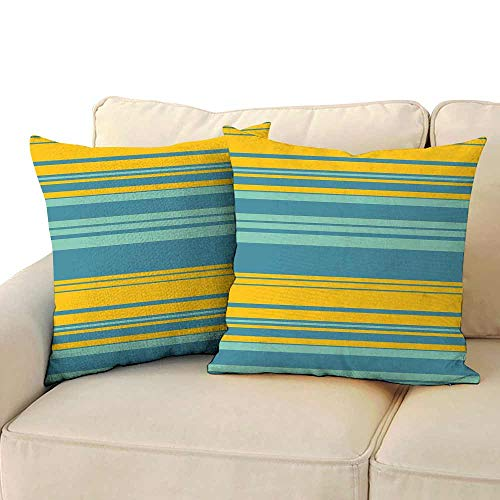 Living Room Sofa Hug Pillowcase Yellow and Blue Horizontal Abstract Color Stripes Lines Simplistic Modern Art Print Suitable for Hair and Skin Health W 18