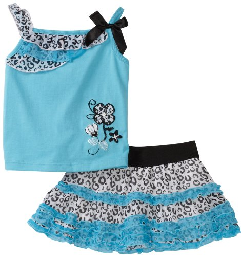 Young Hearts Baby Girls' Knit Top With Matching Skooter Skirt Set, Ocean Wind, 24 Months