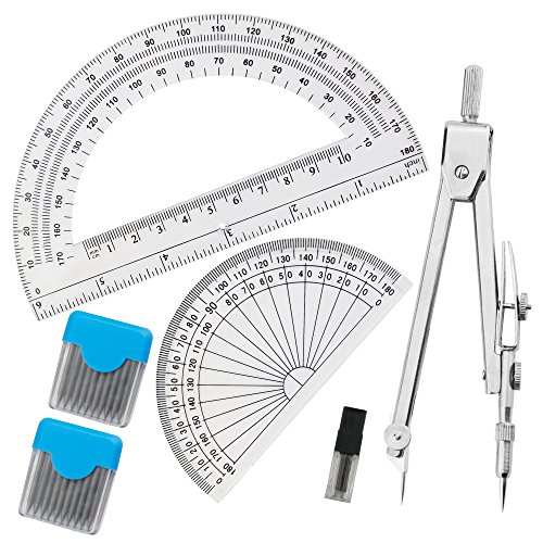 Stainless Steel Drawing Compass Math Geometry Tools with 2 Pack Protractor Angle Measurement(2 Pcs 0.5mm Lead for (Stainless Steel Compass)