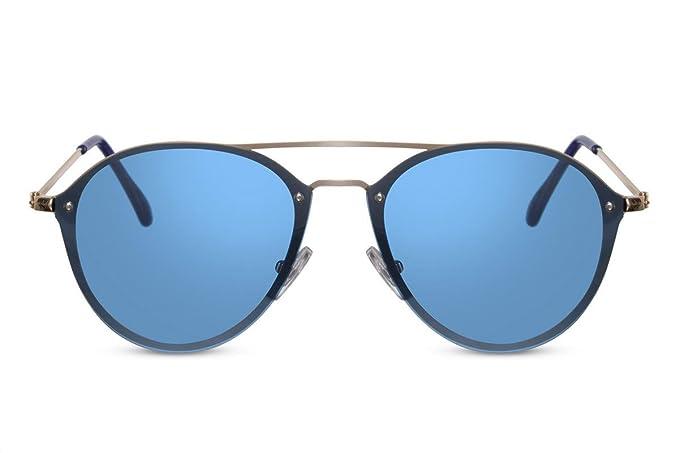 Cheapass Runde Sonnenbrille Holz Braun Blau Verspiegelt-e Brille UV-400 Plastik Damen Herren a99H6X20sg