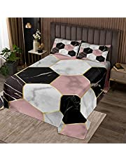 Geometric Quilt Set Honeycomb Coverlet Set for Boys Girls Child Gold Hexagonal Pattern Bedspread White Pink and Black Marble Quilted Bedroom Collection Colorful Room Decor Twin Size Bedding Set 2Pcs