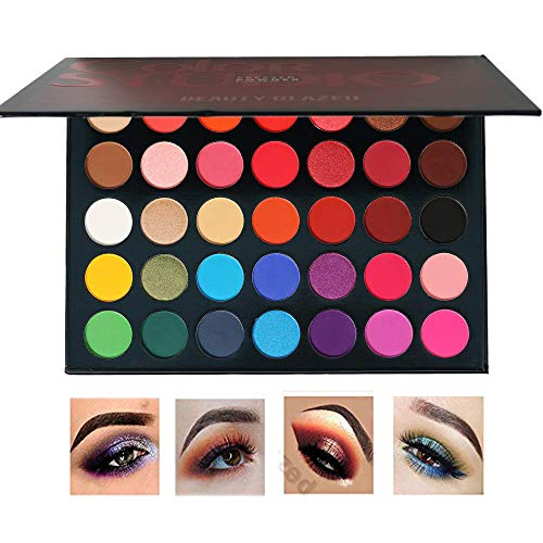 - Beauty Glazed Matte and Shimmer Eyeshadow Make up Palettes 35 Colors Professional and Home Make up Big Palette Highly Pigmented Blendable Pressed Powder Eye shadow