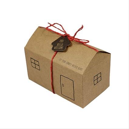 Caja regalo BLTLYX 50 Unids Blanco Kraft Casa Papel Caramelo Chocolate Caja De Regalo Con Etiqueta De Cadena Cumpleaños Fiesta Favorece Cajas De Embalaje 6 * 11.3 * 6.5cm Kraft: Amazon.es: Oficina y papelería