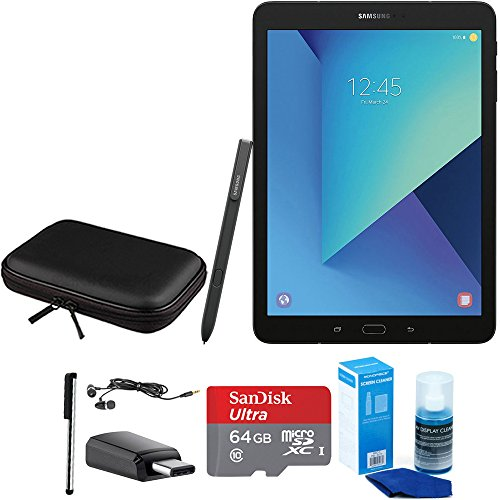 3 9.7 Inch Tablet with S Pen - Black - Accessory Bundle Includes 64GB Ultra MicroSDXC UHS-I Memory Card, Case for Tablets, Stylus, USB-C Adapter, Screen Cleaner and Earbuds ()
