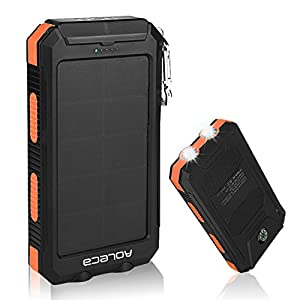 Solar-charger-Aoleca-Portable-Solar-Power-bank-10000mAh-Rain-resistant-DirtShockproof-Dual-USB-Port-and-2-LED-Lights-with-Carabiner-Compass-for-All-USB-Supported-Devices