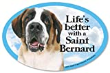 "Saint Bernard Oval Dog Magnet for Cars (and fridges too!). Includes bonus ""I Love My Dog"" decal."