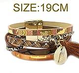 Ty-BLACK Fashion Leather bracelet,tassel,shell,Bohemian bracelets&banglesjewelry BROWN 19CM