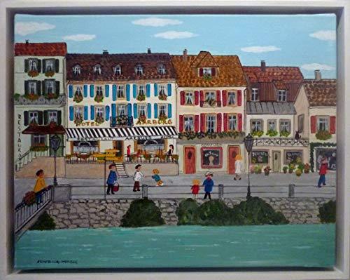 (Tableau acrylique sur toile de Heidi SCHMELZER. : Petite ville)