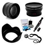 UltraPro 58mm Essential Lens Kit for Select Nikon Cameras. Bundle Includes 2x Telephoto Lens, 0.45x HD Wide Angle Lens w/Macro, Flower Tulip Lens Hood Accessory Set