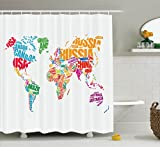 Ambesonne Wanderlust Decor Shower Curtain Set, World Map with Names of the Countries Europe America Africa Asia Graphic Style, Bathroom Accessories, 84 Inches Extralong, Multi