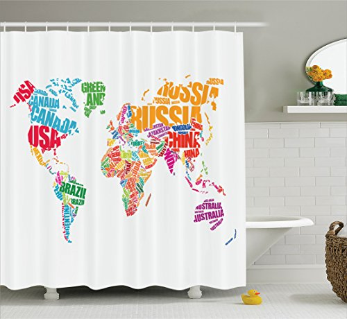Wanderlust Decor Shower Curtain Set By Ambesonne,