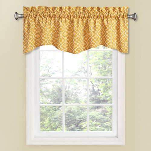 Waverly Lovely Lattice Valance, 16-Inch, Mimosa (Kitchen Valance Yellow compare prices)