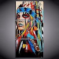 Cikuso 3 Tele Pezzo d'Arte Native Indiano Americano con Foto Piuma Pittura murale per Il Salone