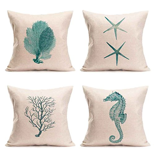 (PSDWETS 4 Packs Cotton Linen Sofa Home Decor Design Green Throw Pillow Case Cushion Covers 18 X 18 Inch(Coral,Starfish,Seahorse,Branch))
