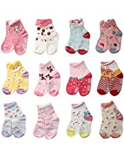 LAISOR 12 Pairs Assorted Non-Skid Ankle Cotton Socks with Grip For Kids Toddlers Baby Girls (3-5 Years)