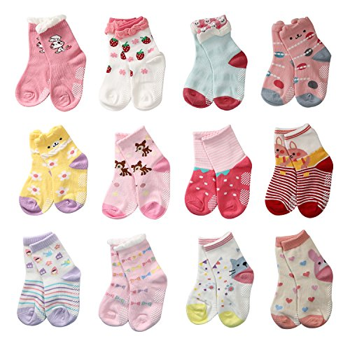 LAISOR 12 Pairs Assorted Non-Skid Ankle Cotton Socks with Grip For Kids Toddlers Baby Girls (3-5 Years) -