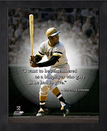 Pittsburgh Pirates Picture Frame (Roberto Clemente Pittsburgh Pirates MLB Pro Quotes Photo (Size: 9