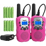 Rechargeable Walkie Talkies for Kids- Super Easy to Use 2- Mile Long Range 22 Channel Kids Walkie Talkies with Rechargeable Batteries and Charger, Toys 2 Way Radios Gifts for Boys and Girls (Pink)
