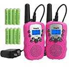 Kids Walkie Talkies Rechargeable Long Range with Rechargeable Batteries and Charger (Pink)