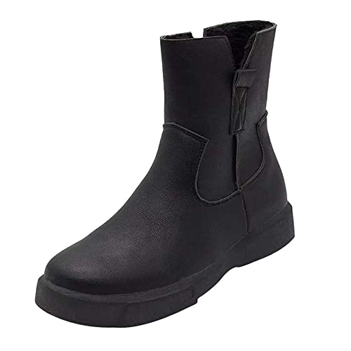 Longra Women Boots❤️ Women Leather Boots Flat Low Zipper Middle Tube Boots  Casual Shoes 2019 Boots