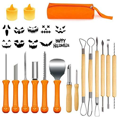 Kürbis Schnitzset 14 teilig mit 2 LED Kerzen, Profil Halloween Kürbis Schnitzwerkzeuge aus robusten Edehlsthal, mit Tragetasche und 10 Kürbis-Schnitzschablonen