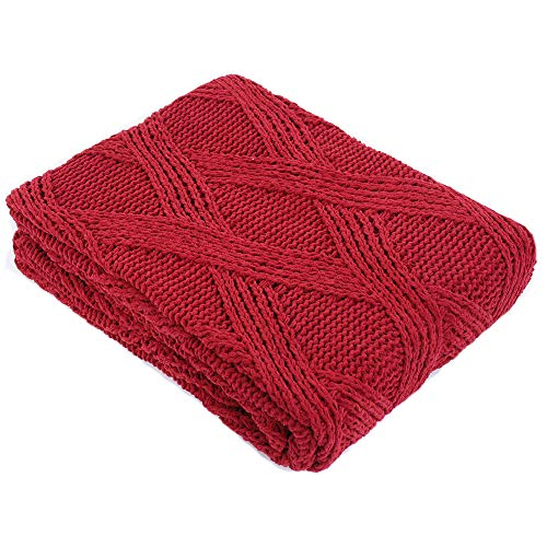 Battilo Diamond Cable Knit Chenille Throw Blanket for Couch Chair Sofa,Soft Cozy Home Decorative Blankets for All Seasons, 50 x 60 Inch (Red)