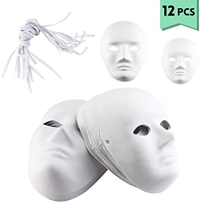 Oruuum 12 PCS DIY Full Face Masks, Paintable Paper Mask, White DIY Mask, Masquerade Mask, Mardi Gras Mask, Party Full Face Masks: Clothing
