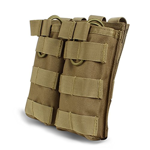 Outry M4 M16 AR-15 Type Magazine Pouch Mag Holder - Triple/Double / Single Airsoft MOLLE Mag Pouch - Open Top Version - Double - Tan/Coyote Brown