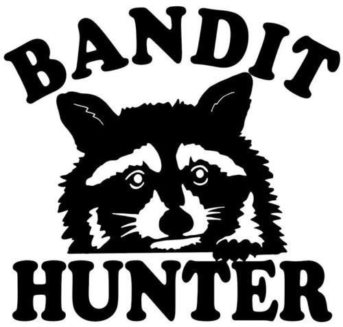 Coon Hunting, (Bandit Hunter) Decal Truck Windows Raccoon Stickers, Die Cut Vinyl Decal For Windows, Cars, Trucks, Tool Boxes, Laptops, Macbook - Virtually any Hard, Smooth Surface, White 6 Inch