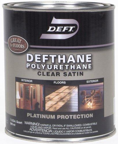 Floor Varnish Clear Satin - Deft Defthane Interior Exterior Clear Polyurethane Satin, Quart